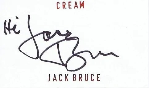 Jack Bruce Autographs for sale | Cream Bassist