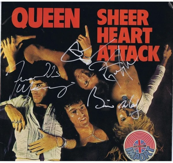 Queen Sheer Heart Attack Autographs – Freddie Mercury, Brian May, John Deacon & Roger Taylor