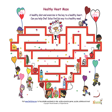 valentine day healthy heart easy maze puzzles - Children's Corner