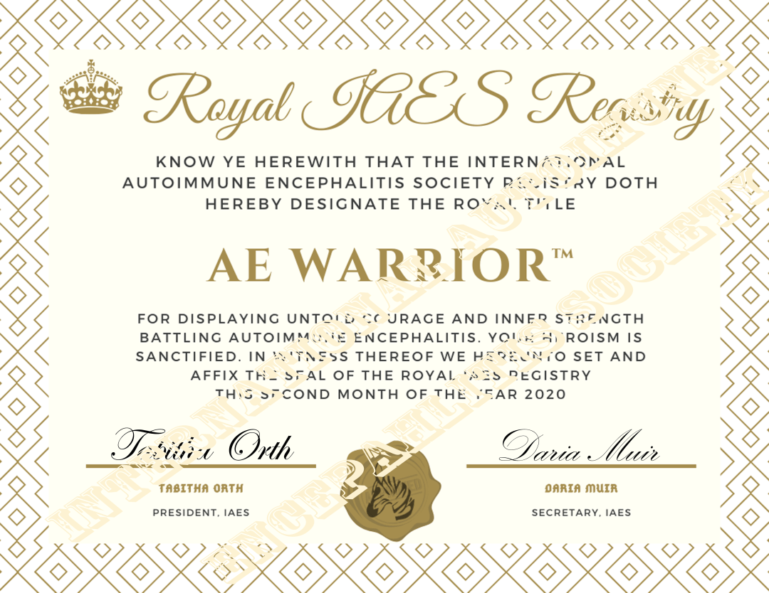 AE Warrior 2020 Certificate watermark - AE Awareness Month 2020