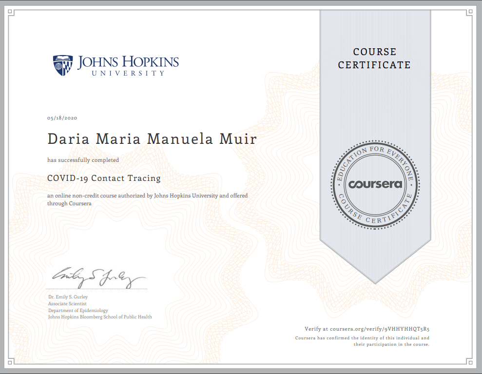 Daria Muir Contact Tracing Certification John Hopkins - HOME