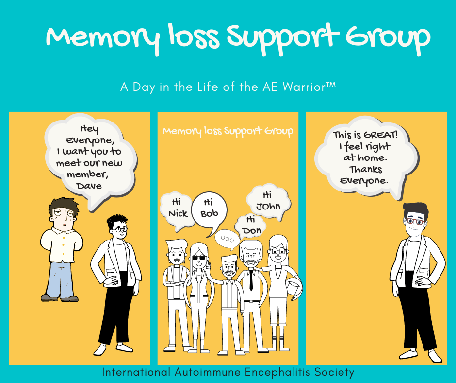 memory loss support group Comic Strip FB 8 16 20 - Memes About Autoimmune-Encephalitis