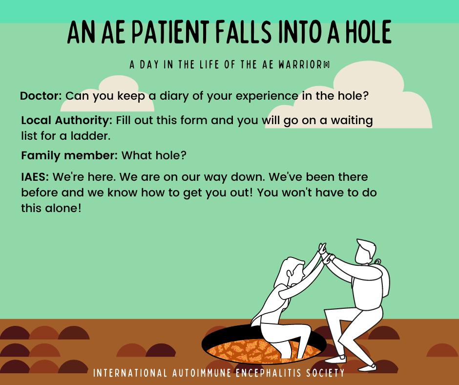 AE Patient falls into a hole 5 30 2021 FB Post - Memes About Autoimmune-Encephalitis