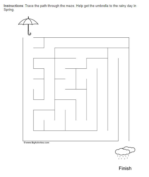 medium difficulty maze-spring-rain
