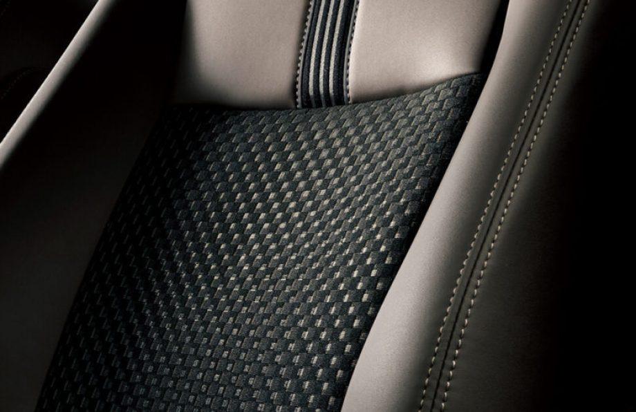 合成皮革+ファブリックシート表皮 ダークブラウン+ブラック ダブルステッチ(ブラウン)