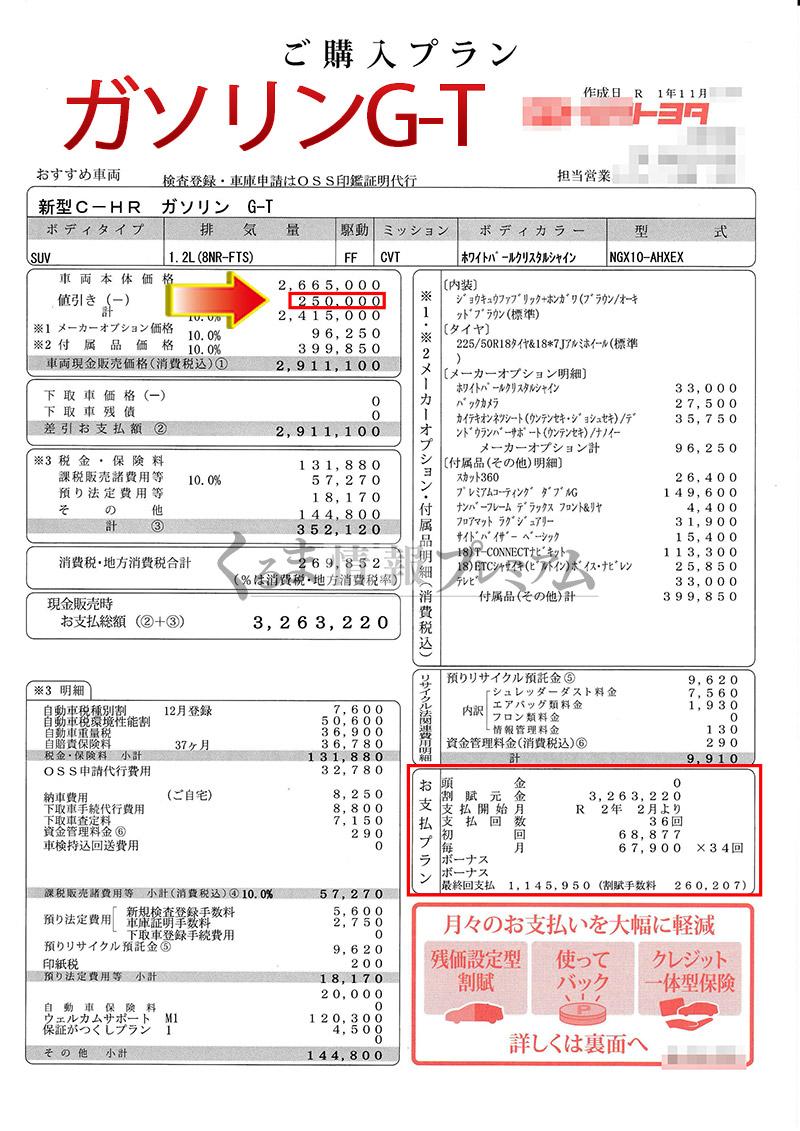 トヨタC-HRのG-T見積書