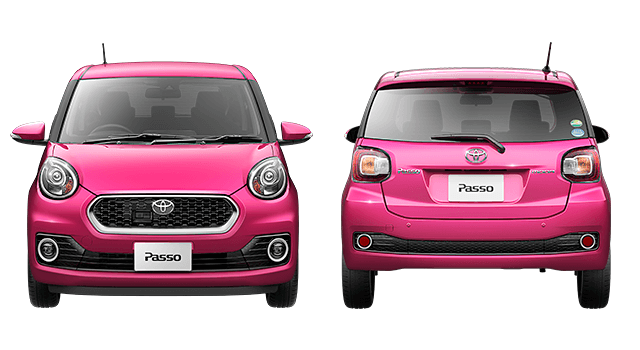 ピンクのパッソ前と後ろ