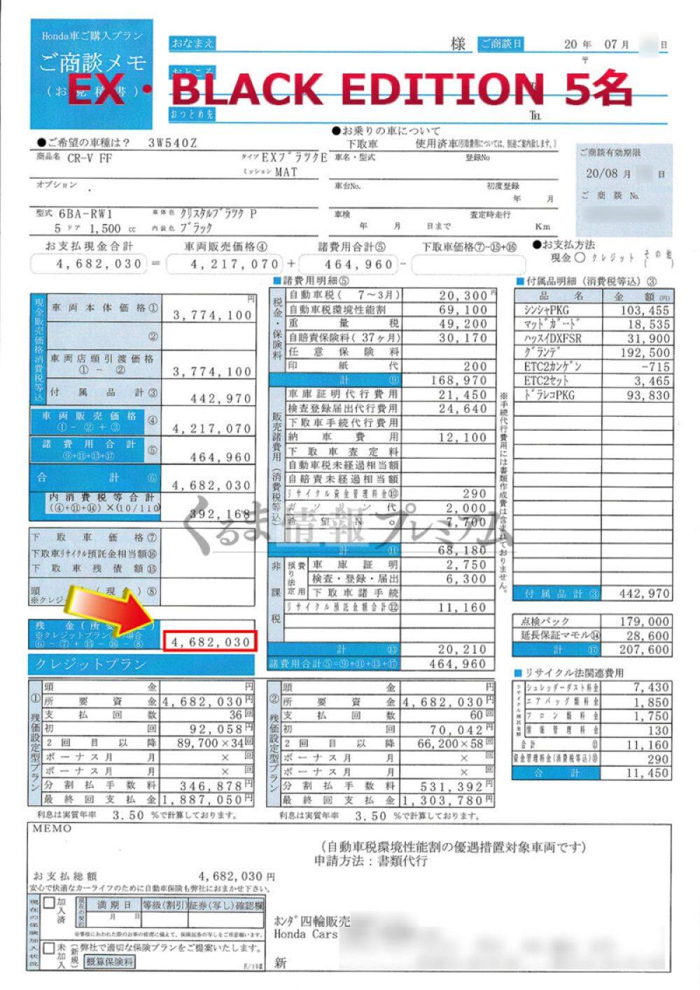CR-V EX・BLACK EDITION 5名見積書