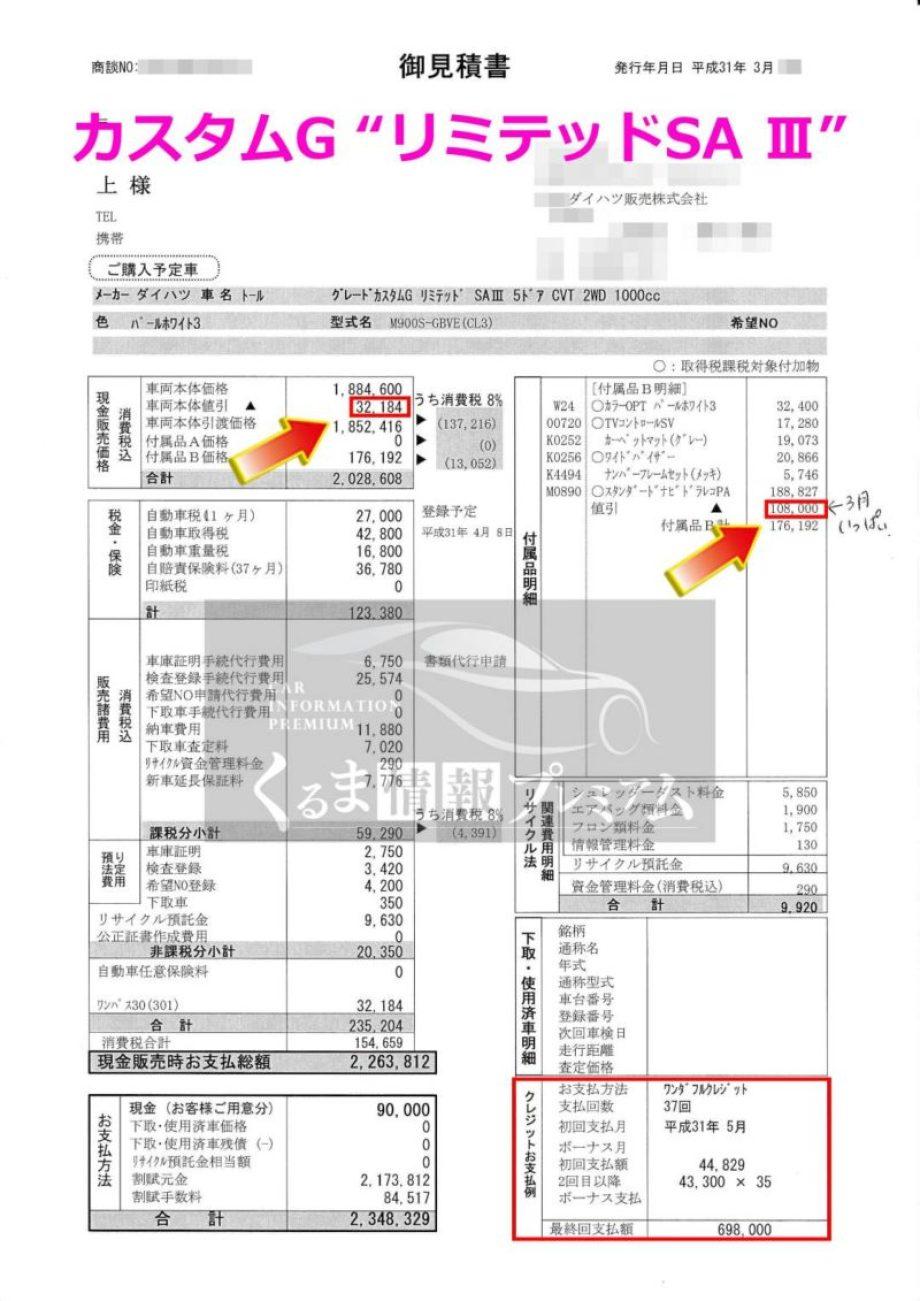 """カスタムG """"リミテッドSA Ⅲ""""の値引き額は?"""