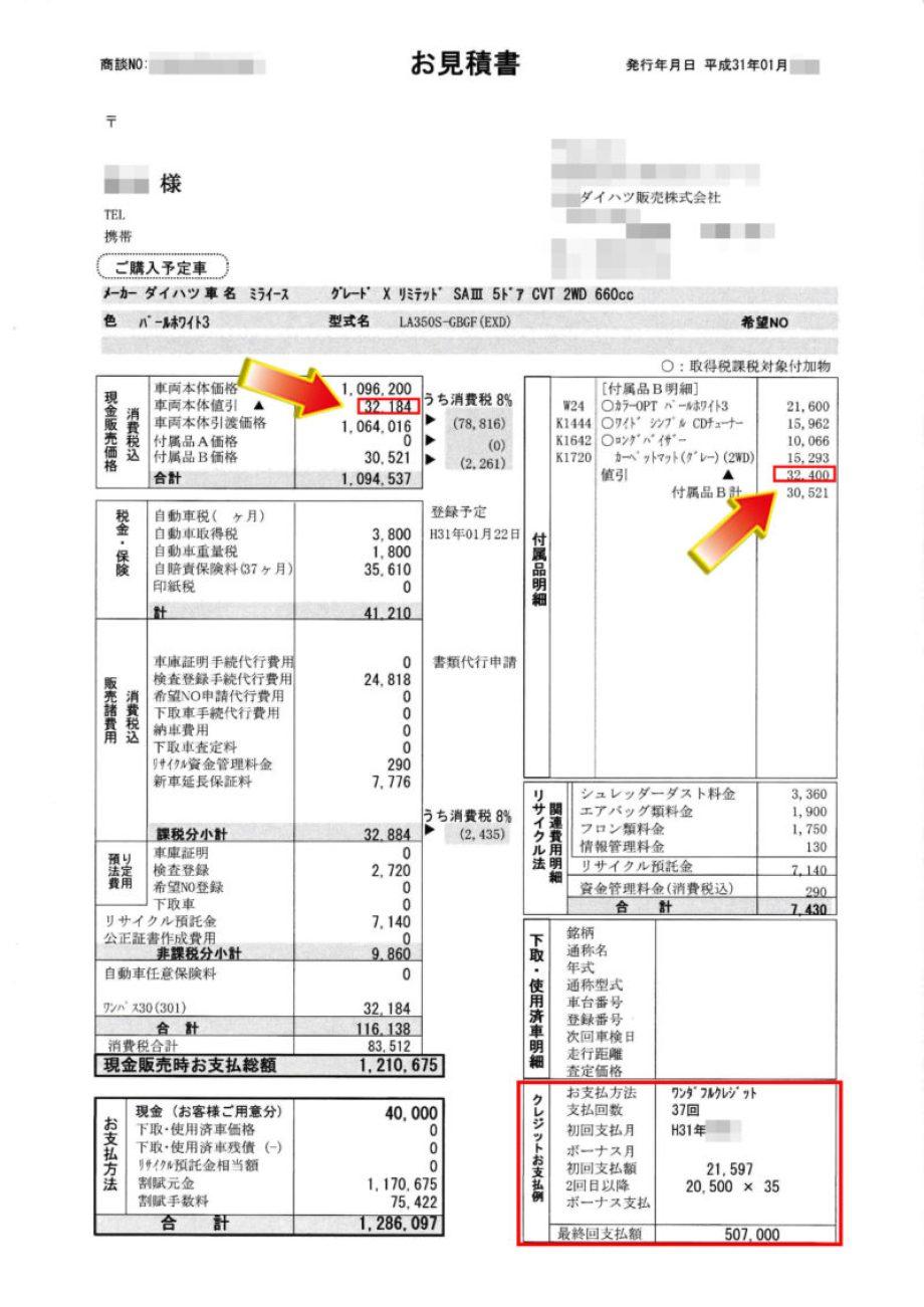 """ミライースX""""リミテッド SA Ⅲ""""の値引き額は?"""