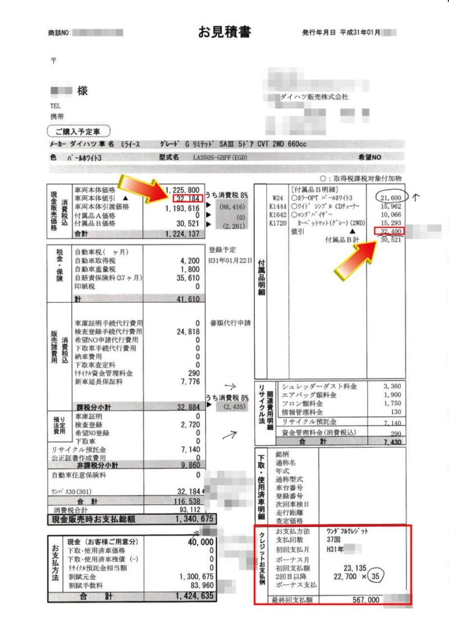 """ミライースG""""リミテッド SA Ⅲ""""の値引き額は?"""
