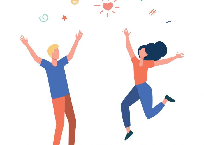 Happy young couple having fun. Girl and guy dancing at party, celebrating good news flat vector illustration. Celebration, festive event, success concept for banner, website design or landing web page