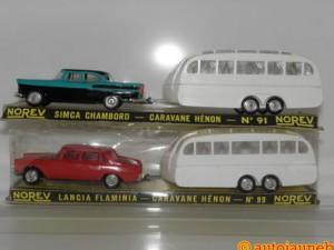 Norev : Simca Chambord et Lancia Flaminia et caravane