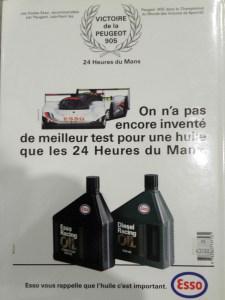 publicité Esso vantant la victoire du mans 1992
