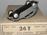 Dinky Toys citroën 2cv 1 feux gris moyen pavillon quadrillé