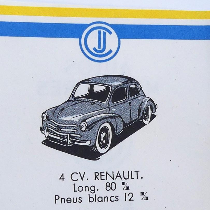 extrait du catalogue C-I-J Renault 4cv calandre à 3 barres
