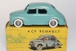 C-I-J Renault 4cv calandre 3 barres jantes en plastique de couleur argent nuance de vert châssis riveté