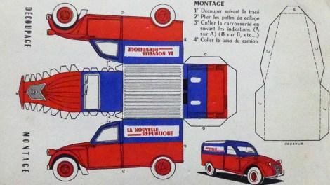 """Planche de découpage de la Citroën 2cv """"La Nouvelle République"""""""