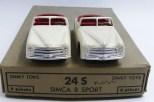 Dinky Toys Simca 8 sport (pare brise épais) avec intérieur rouge et jantes en acier chromé