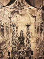 """Charles Nicolas Cochin """"pompe funèbre d'Elisabeth Thérèse de Lorraine"""" 1743 dessin préparatoire"""