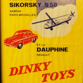 Affichette Dinky Toys avec Renault Dauphine
