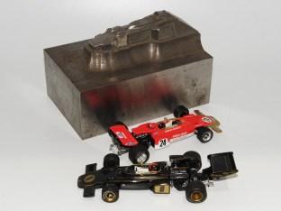 emprunte d'enfonçage de la Lotus 72 de Safir Champion (jamais réalisée) avec Lotus 72 Gold Leaf et JPS de chez Minichamps