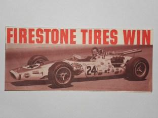 Publicité pour la victoire de la Lotus Indy de Graham Hill et des pneus Firestone
