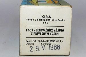 Igra Tatra 603 avec caravane (boîte 29/056/1968