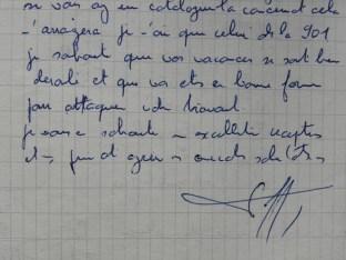 Lettre de Raymond Daffaure demandant un complément d'informations afin de réaliser un modèle