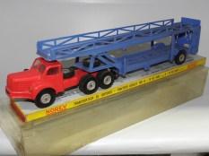 Norev Berliet TBO tracteur semi remorque porte autos (avec filtre à air) et boîte jaune et rouge
