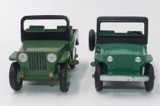 Dinky Toys prototype bois de la Willys jeep Universal et la version de série