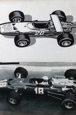 Solido dessin original de Jean Blanche (Ferrari 312 F1 1968) et photo au GP de Monaco 1967