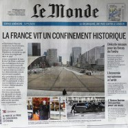 "Journal Le Monde ""la France vit un confinement historique"""