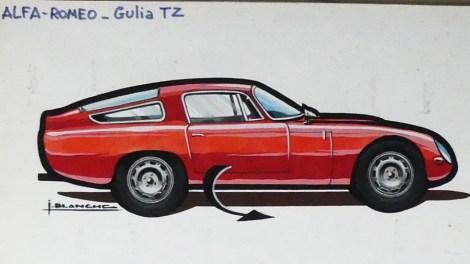 Solido gouache originale signé Jean Blanche Alfa Romeo GTZ tubolare