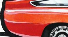 Solido gouache originale signé Jean Blanche Alfa Romeo GTZ tubolare (observez le large trait noir ceinturant le dessin)