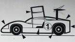 Solido dessin original à l'encre de Chine signé Jean Blanche : Chaparral 2F (observez le repenti sur l'aileron)