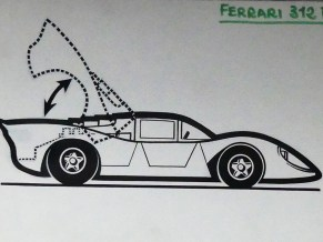 Solido dessin original à l'encre de Chine signé Jean Blanche Ferrari 312P