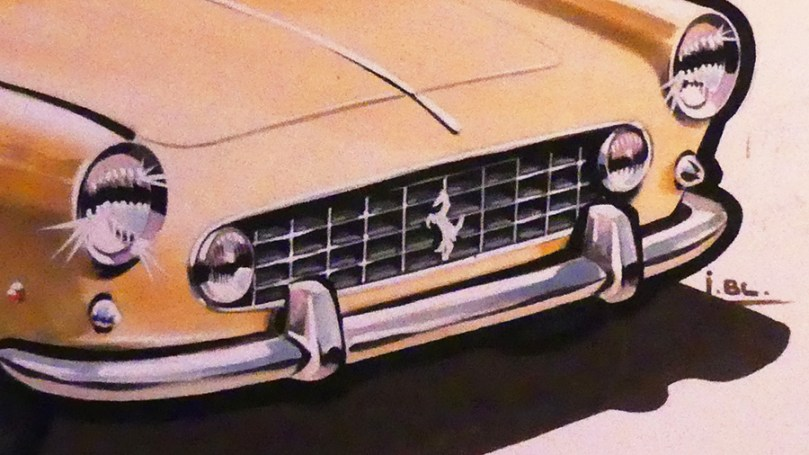 Solido gouache originale signé Jean Blanche Ferrari 250 GT 2+2