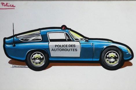 Solido gouache originale signé Jean Blanche Alfa Romeo GTZ tubolare police des autoroutes