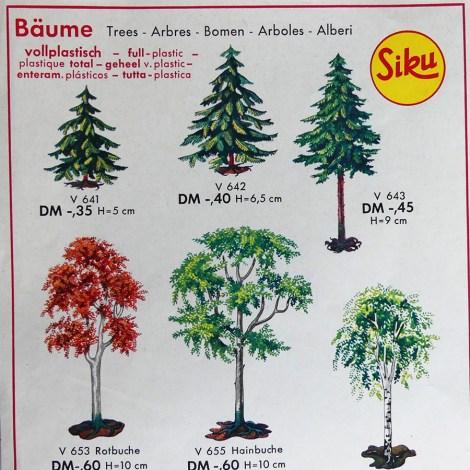 Siku catalogue : quelques arbres disponibles