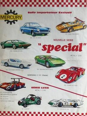 Mercury: catalogue édité par Safir en langue française pour promouvoir la gamme avec la Porsche 917 longue !