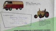 Marklin catalogue d'immédiat aprés guerre avec la Buick et la Mercedes 300 ainsi que le Lanz et le Kombi
