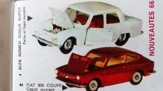 Catalogue Mercury importé en France par Safir en langue française : la Fiat 850 coupé et l'Alfa Romeo Giulia
