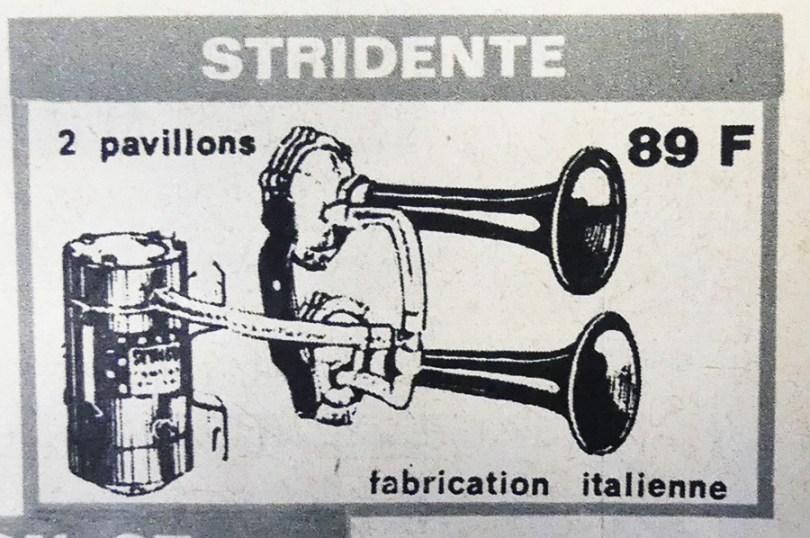 Publicité pour Klaxons Stridente italien
