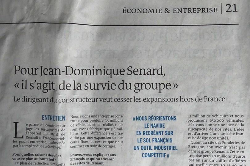 """Article du journal """"Le Monde"""" avec l'entretien de Jean-Dominique Senard patron de Renault en 2020"""