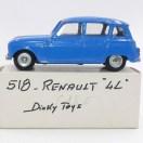Dinky Toys Renault 4L bleue provenant de chez monsieur Badaroux avec l'éclat de peinture visible sur la photo du catalogue