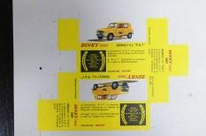 rare boîte Dinky Toys Renault 4L postes avant découpe à l'imprimerie