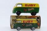 """Tekno Volkswagen Kombi """"Ejby"""" et sa carte publicitaire prouvant bien que le modèle existait réellement."""