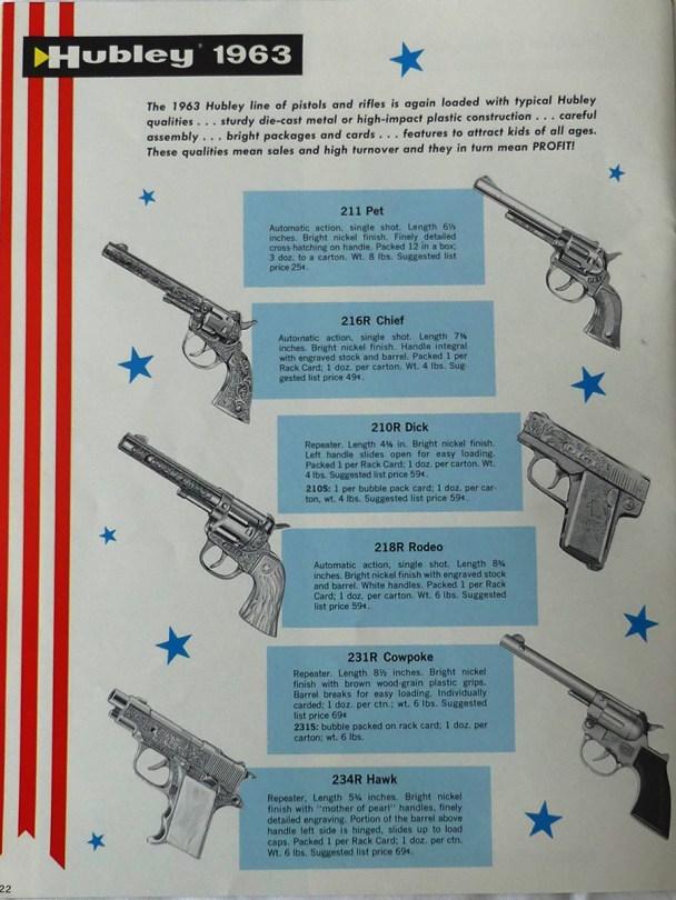 Hubley catalogue 1963 avec armes à feux