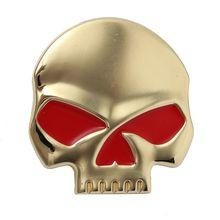 Auto Motorrad 3d Aufkleber Skull Totenkopf Emblem Wandtatoo Sticker Deko Metall Gold Red Eyes